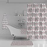 iPrint Bathroom 4 Piece Set Shower Curtain Floor mat Bath Towel 3D Print,Animal Elephant Nature Pattern Ethnic Print,Fashion Personality Customization adds Color to Your Bathroom.