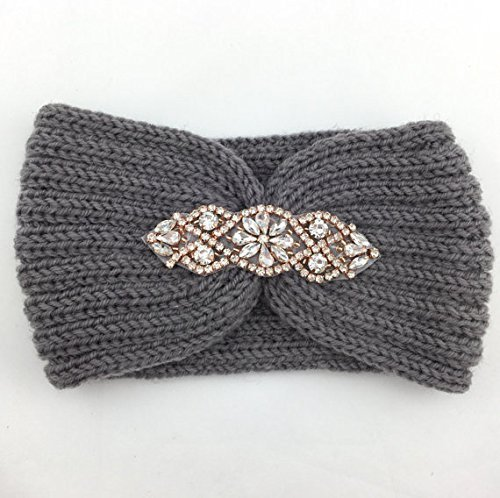 Knitted Headband with Rhinestone Accent