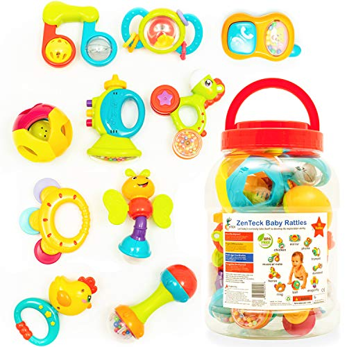 Toy Teether Developmental - Zenteck Multi-Sensory BPA-Free Baby Rattles Teethers & Shakers Essential Set with Storage Bin [10-Piece] | Baby-Safe, Non-Toxic, Multifunctional Developmental Set for Newborns & Babies