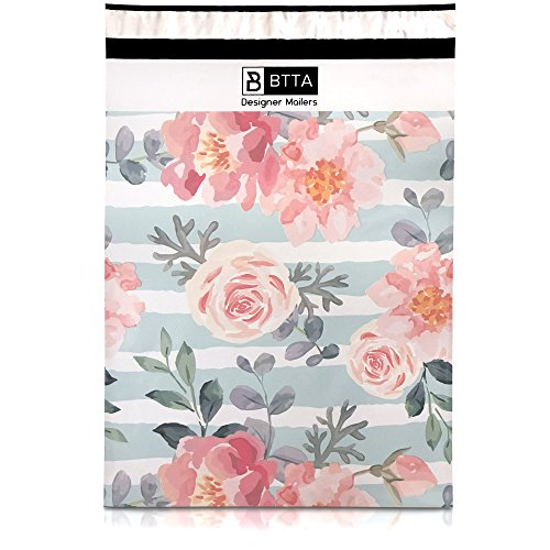 100 Pack 10x13 Pink Stripes and Flowers Poly Mailers Shipping Envelopes Bags with Custom Designer Printed Boutique Pattern and Self Seal Adhesive Strip - Large Heavy Duty Waterproof Bulk Combo