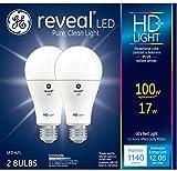 GE Lighting 92986 Light Reveal HD Dimmable LED A21 Ceiling Fan Bulb 17-Watt (100-Watt-Replacement), 1140-Lumen Medium Base, 2-Pack, Piece