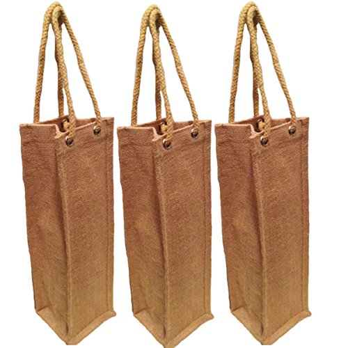 Pack of 3- Natural Jute Burlap One Bottle Wine Tote with Long rope handles size 4