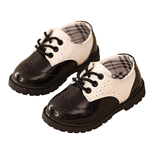 LINKEY Toddler Boy Christening Baptism Church Shoes School Uniform Oxfords Saddle Shoes Black & White Size 29