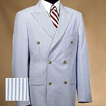 Double-Breasted Seersucker Suit Jacket Blue 42 Regular at Amazon ...