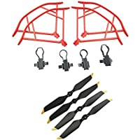 Upgraded Propellers for DJI Mavic Pro 8331 8331F Low-Noise Quick-release Folding Propellers Prop Guard Bumper Rc Quadcopter Spare Part Set (Red-Black-Gold)