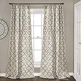 Lush Decor Geo Trellis Curtains Room Darkening Window Panel Drapes Set for Living, Dining, Bedroom (Pair), 84' x 54', Gray, 84' x 54'