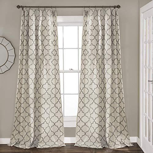- Lush Decor Geo Trellis Curtains Room Darkening Window Panel Drapes Set for Living, Dining, Bedroom (Pair), 84