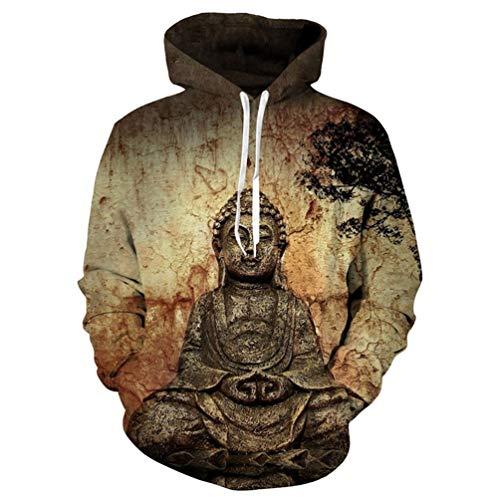 KWOLEI Buddha Statue Brown Hoodie 3D Unisex Sweatshirts Pullovers Autumn Winter Loose ()