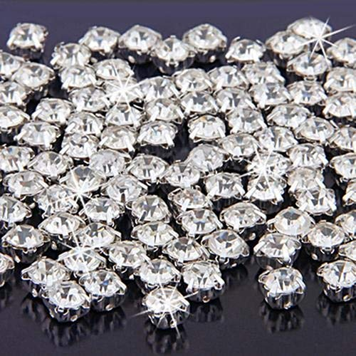 Baost 100 Pcs Silver Plated Crystal Rhinestone Close Spacer Beads DIY Sewing Jewelry FIndings Charm for Jewelry Making, Clothes Garment, Bags, Dress, Wedding Party Decoration - Silver 100 Plated Pcs