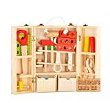 Farook-Wooden Simulation Tools Box Set 3D Puzzle Pretend Play Repair Tools Kit Children Learning Educational Toys