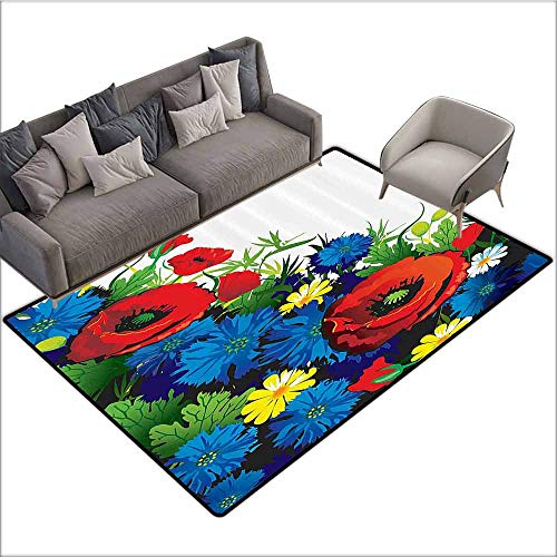 Floor Mats for Living Room Floral,Vibrant Flower Bouquet with Poppies Chamomiles Nature Beauty Art Print,Blue Scarlet Fern Green 64