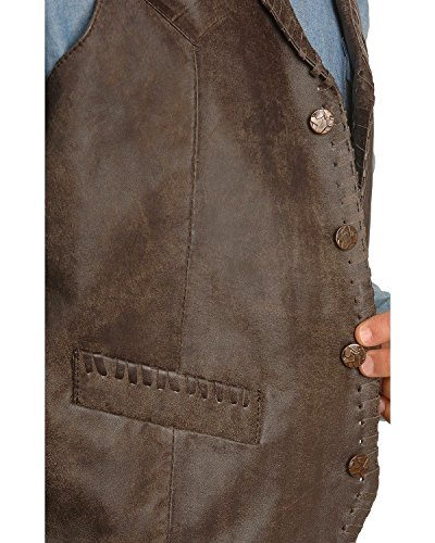 Scully Men's Whipstitch Lamb Leather Vest Brown Large by Scully (Image #1)