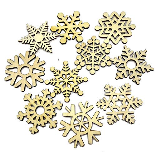 Merry Christmas Snowflake Ornament, Wooden Snowflake Xmas Wedding Tree Hanging Ornament Decor (20Pcs)