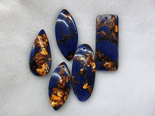 6pcs Gold lapis blue malachite Amazonite rock Red jade stone picture jasper turquoise teardrop evil rectangle Pendant 20-60mm ()