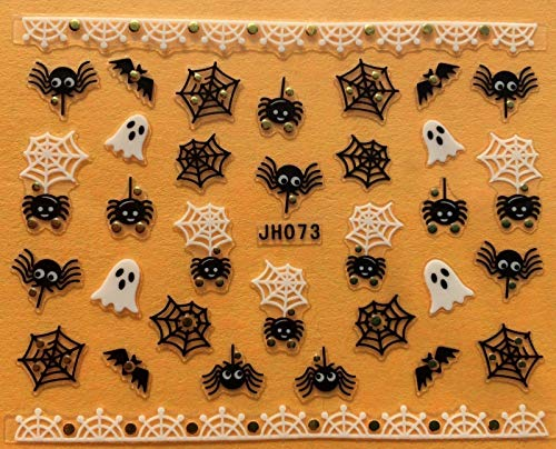 Nail Art 3D Decal Stickers Halloween Ghost Spider Web Bat JH073]()