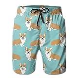 Corgi Puppies Multicolored Male Beach Shorts Swim Trunks