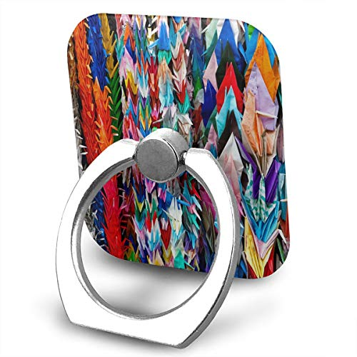 Phone Ring Finger Holder, Square Origami Multicolor Papercraft Cranes Printed Universal Smartphone Holder Stand, Cell Phone Ring Finger Holder Grip Almost All Phones/Pad ()