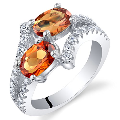 - Forever Us Two Stone Created Padparadscha Sapphire Sterling Silver Ring Size 6