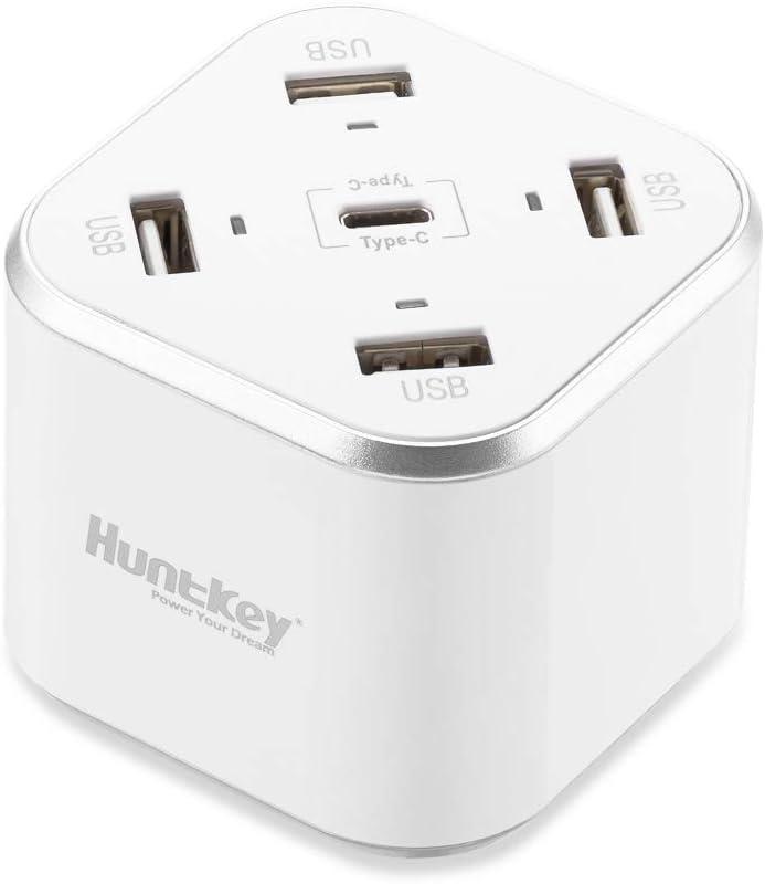 Huntkey USB C Charging Station, 35W Desktop Charger with Type-C 5V/3A 15W, 4-Port USB 5V/4A, for iPhone Xs Max XR X 8 7 Plus, Ipad Pro Air Mini, Galaxy S9 S8 S7 S6 Edge, Tablet, SAC507