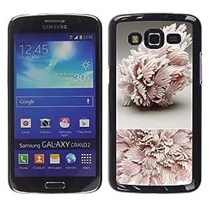 Caucho caso de Shell duro de la cubierta de accesorios de protección BY RAYDREAMMM - Samsung Galaxy Grand 2 SM-G7102 SM-G7105 - Art Structure Pink Leaves
