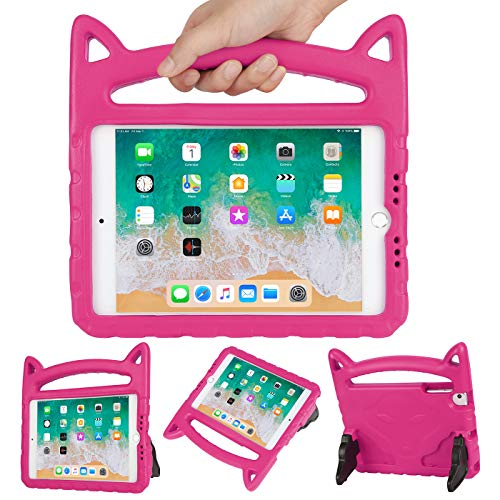 HDE Kids Cat Ear Case for iPad Mini 1/2 / 3/4 / 5 Lightweight Shockproof Case with Handle and Kickstand for Apple iPad Mini 5 (2019), Mini 4, Mini 3, Mini 2 and Original Mini Tablet