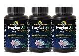 Long Jack powder - Tongkat Ali 200:1 Premium Extract - Testosterone sex power (3 Bottles - 180 Capsules)