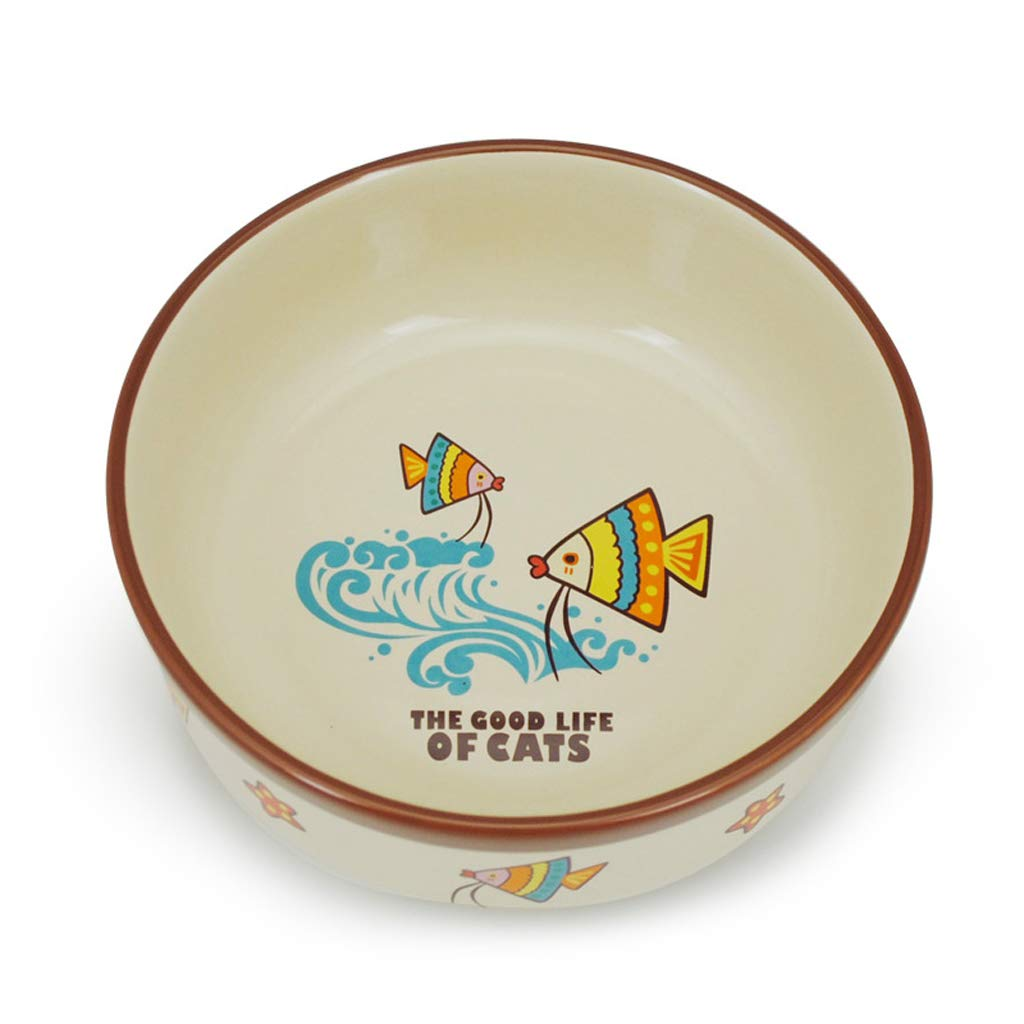 CXQ Dog Bowl Cat Bowl Thick Ceramic Bowl Cute Cartoon Fish Cat Food Dog Food Bowl Pet Supplies