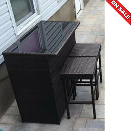 Outside Patio Bar Set of 3 Dining Lawn Garden Yard All Weather Wicker Garden Law Yard Furniture & E book By Easy2Find by STS SUPPLIES LTD