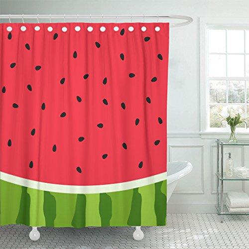 Emvency Shower Curtain Green Summer Watermelon Slice Seed