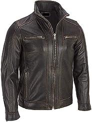 The Custom Jacket Black Rivet Mens Leather Faded Seam Cycle Genuine Cow Hide Distressed Jacket