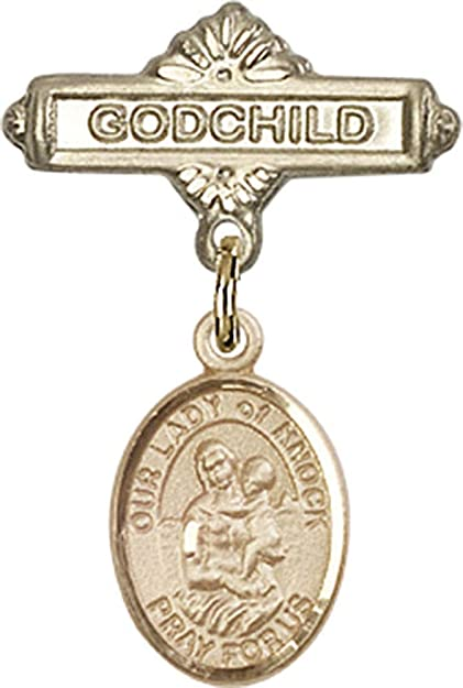 John Licci Charm and Godchild Badge Pin 1 X 5//8 inches Sterling Silver Baby Badge with St