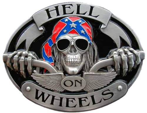HUGE Hell On Wheels Colored Novelty Belt Buckle