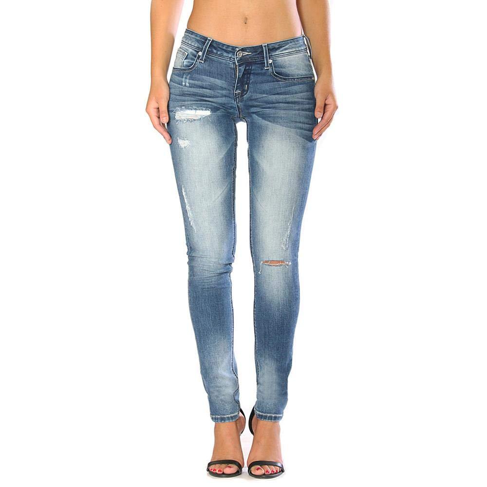 Grace in LA Women's Junior Fit Sanded DistressSlit Skinny Jeans   JNW9256 bluee