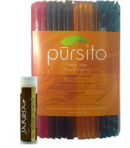 Celebration Honey Sticks 100 with Organic Beeswax Lip Balm Pursito Brand Variety Pack Gift Set of Honeystix 100 Count (25 ea flavor): Cherry, Chocolate, Orange & Peppermint