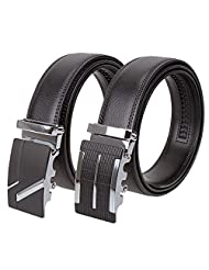 BMC 2pc Mens Fashionable Genuine Leather Mix Size Automatic Locking Belt Buckles - Business Casual