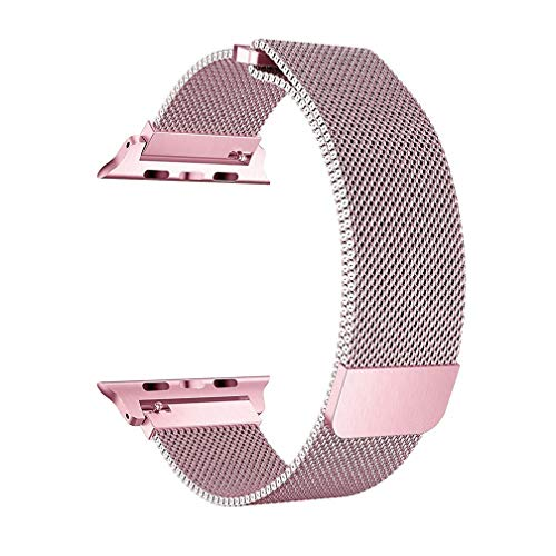 OROBAY Mesh Stainless Steel Milanese Loop Watch Band Compatible with Watch Series 4 Series 3 Series 2 Series 1 38mm 40mm with Magnetic Closure Clasp, Pink
