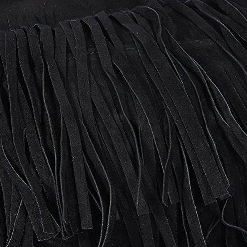 Museya Fashion Women's Ladies Fringe Tassels Faux Suede Shoulder Bag Messenger Bag Cross-body Tote Handbag (Black)
