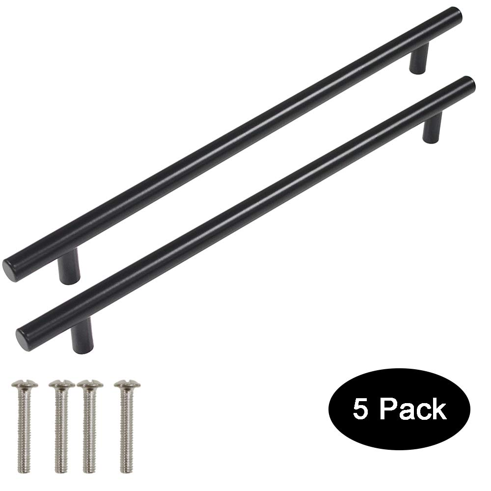 5 Pack Probrico Black Stainless Steel Kitchen Cabinet Door Handles T Bar Drawer Pulls Knobs Diameter 1/2 inch Hole Centers:10inch-12-4/5inch Length