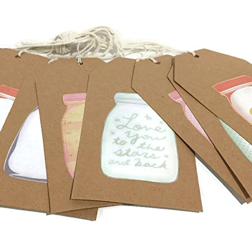 Rustic Gift Tags - Mason Jar Gift Tags - Set of 12 - Large Sized Gift Tags - Package Gift Tags - Present Gift Tags - Product Packaging - Shabby Chic GIft Tags (Tags Shabby Chic)