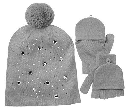 Girls 4-7 SO Sparkly Hat & Convertible Mittens Set ()