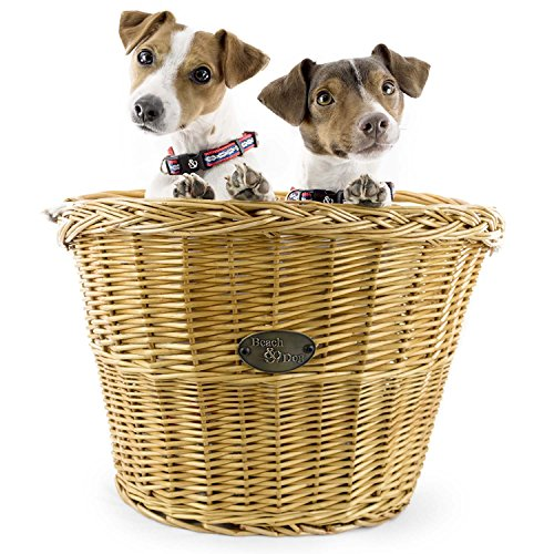 Medium Willow Bicycle Basket for Dogs - Hand Crafted By Beach and Dog Co - Handlebar Bracket and Leashes Included (Assateague Medium)