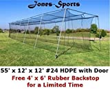 Batting Cage Net 12' H x 12' W x 55' L #24 HDPE 42ply w/ Door Baseball Softball