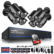 SANNCE 8 Channel 1080P Surveillance Camera System 8*1080P Security Outdoor Cameras with 1TB Hard Drive (2.0 Mega-Pixel 100ft Night Vision, P2P Technology, Motion Detection, Weatherproof )