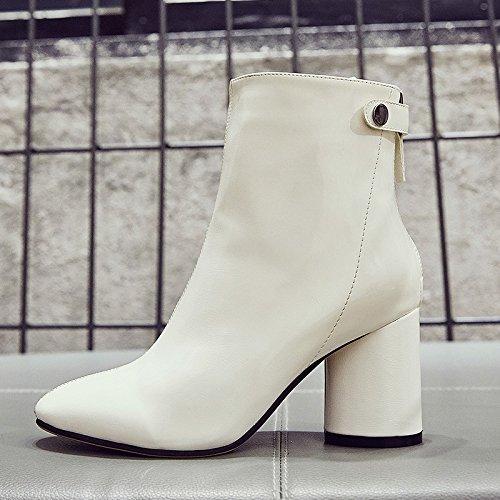 blanc mono Thirty-nine GUNAINDMX  chaussures chaussures bottes Winter Martin All-Match cuir bottes