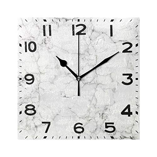 3 Animal Wall Clock - Naanle Chic 3D White Marble Stone Print Square Wall Clock, 8 Inch Battery Operated Quartz Analog Quiet Desk Clock for Home,Office,School