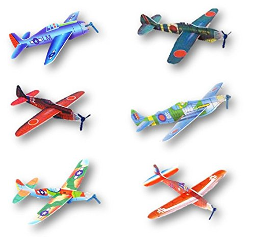 Play Kreative Flying Glider Foam Planes - 48 Pk –Assorted Design – Party Favor -