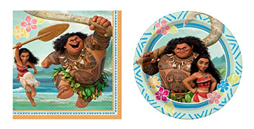 2 Sets of 16 Unique Disney Moana Party Napkins and 2 Sets of 8 Unique Disney 7 inches Moana Party Paper Plates bundled by Maven Gifts