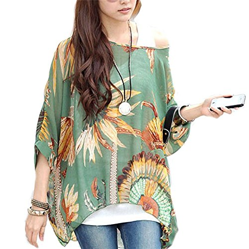Boho Batwing Sleeve Chiffon Blouse Women Casual Floral Print Loose Shirts Plus Size Beach Tunic Tops (Green) ()
