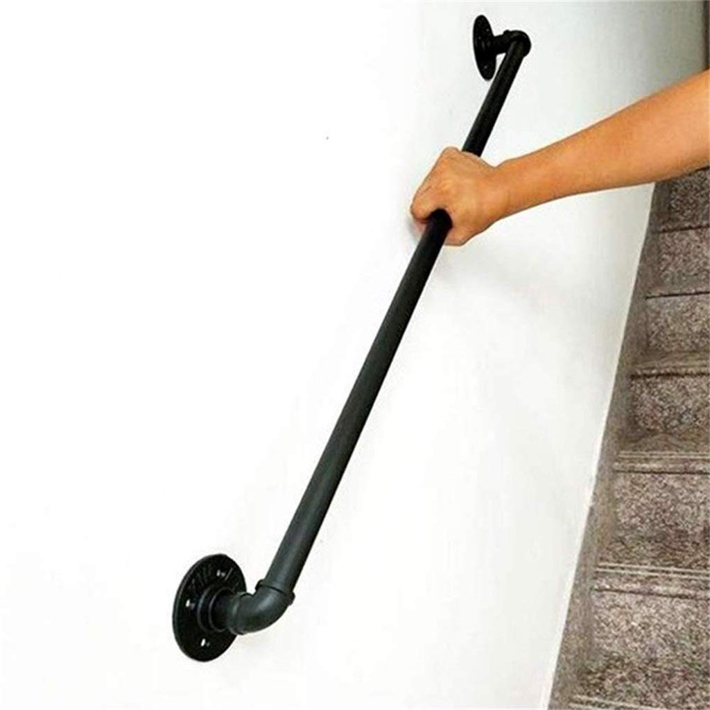 Handrail,Stair Handrail for Indoor and Outdoor Wall Mounted | Black Wrought Iron Decking Railings | Staircase Rails Banister Suppor, Customizable Size (Size : 9ft) by HT-Handrail