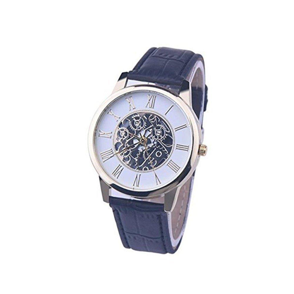 Hot Sale! Charberry Mens Imitation Mechanical Strap Watch Rome Digital Leather Band Analog Dial Quartz Watch (Black)